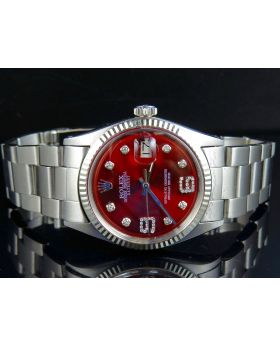 Rolex Datejust 18K Stainless Steel Fluted Bezel Oyster Red Dial Diamond Watch
