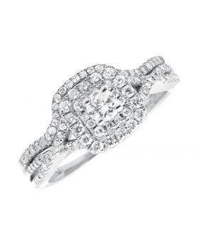 Ladies Solitaire Halo Cluster Diamond 10k White Gold Infinity Engagement Ring Set .75ct