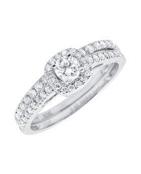 Solitaire Halo Cluster Round Diamonds 10k White Gold Engagement Ring Set 1ct
