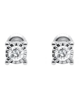 Mens Womens 10k White Gold Illusion Bezel Set Round Diamond Earring Studs.33ct