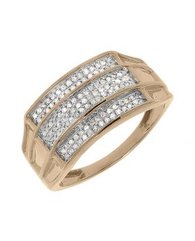 Mens 3 Row Pave Diamond Band in Rose Gold (0.50 ct)