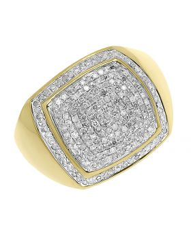 10k Yellow Gold Round Pave Diamond Pinky Fashion Ring (1 ct)