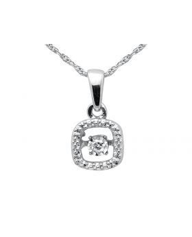 Ladies Diamonds Dancing Pendant .925 Sterling Silver Singapore Chain 18in .03ct