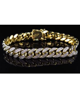 Solid Miami Cuban Link Bracelet in 10K Yellow Gold 10 MM (5 Ct)