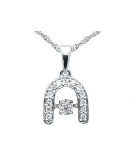 Ladies Horse Shoe Diamonds Dancing Pendant .925 Sterling Silver Singapore Chain 18in .10 ct