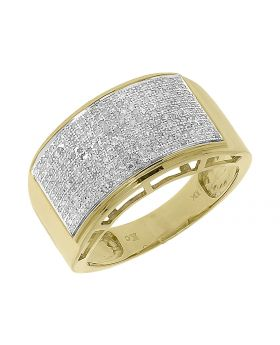 Men's Round Pave Diamond 12mm Wedding Fashion Ring in Yellow Gold (0.90 ct)