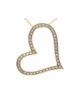 14k Yellow Gold Ladies Bent Heart White Diamonds Necklace Anchor Chain 16in .40ct