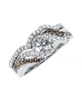 14k White Gold Round Diamond Solitaire Bridal Ring Set (1 ct)