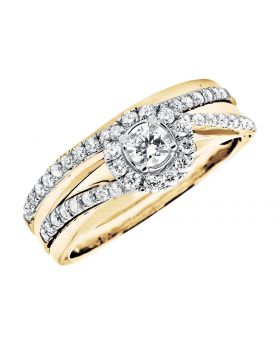 Bridal Flower Cluster Geuine Diamonds Wedding Engagement Ring Set Yellow Gold .60ct