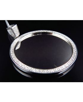 Customizable Diamond Medallion Pendant In White Gold Finish (0.60CT)
