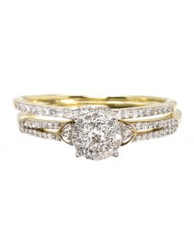 Round Bridal Set in Yellow Gold (0.33 ct)