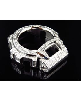 Mens White Gold Finish Simulated Diamond Stainless Steel G Shock DW-6900 Watch Bezel