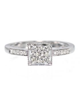 Round Diamond Engagement Ring with Square Head (0.25 ct)