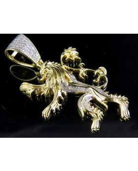 "10K Yellow Gold Lannister Lion 1.85"" Diamond Pendant Charm 0.35 ct"