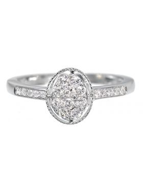 Round Diamond Engagement Ring with Oval Head (0.25 ct)