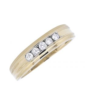14K Yellow Gold One Row Grooved Round Diamond Band 0.25Ct