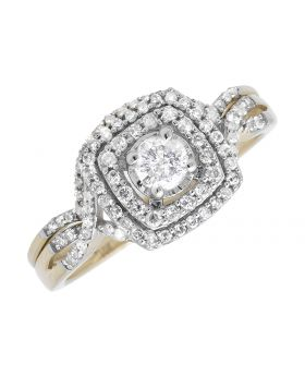 10K Yellow Gold Solitaire Infinity Engagement Wedding Bridal Ring Set 0.51Ct