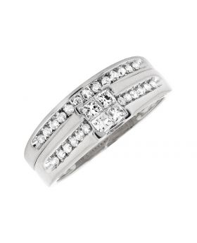 10K White Gold Princess Diamond Engagement Wedding Bridal Ring Set .50Ct