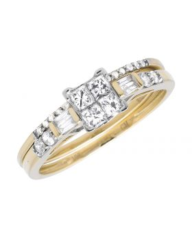 10K Yellow Gold Princess Diamond Invisible Emerald Prong Set Bridal Ring Set 0.50Ct