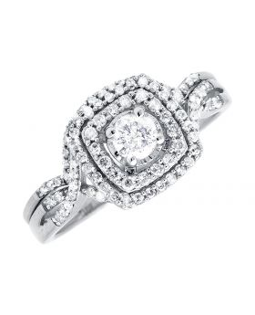 10K White Gold Ladies Solitaire Infinity Engagement Wedding Bridal Ring Set 0.51Ct