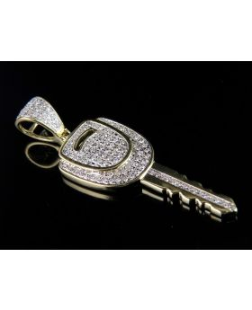 10K Yellow Gold Diamond Car Key Pendant 0.50ct 1.6""