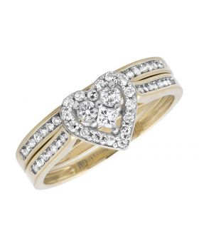 14K Yellow Gold Diamond Heart Shape Engagement Wedding Ring Set 1/2 Ct