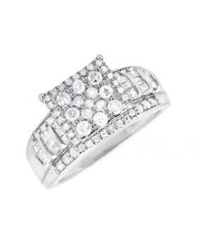 Ladies Round Cut Diamond Engagement Ring Wrapped in White Gold