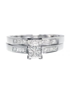 White Gold Bridal with Princess Diamonds (0.50 ct)