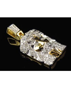 Men's Yellow Gold 1 Jesus Head Pave Diamonds Fashion Charm Pendant (0.39ct)