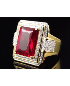 Yellow Gold Finish Royal Emerald Cut Created Ruby Real Diamond Ring (0.50ct.)