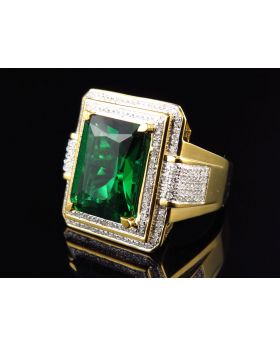 Yellow Gold Finish Royal Emerald Cut Created Emerald Real Diamond Ring (0.50ct)