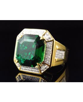 Yellow Gold Finish Royal Asscher Cut Created Emerald Diamond Ring (0.50ct.)