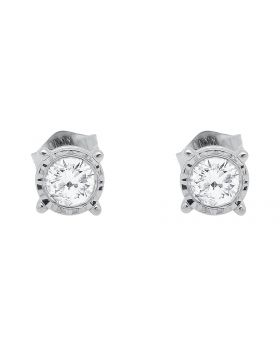 Unisex White Gold Diamond Round cut Studs Earrings 0.40ct
