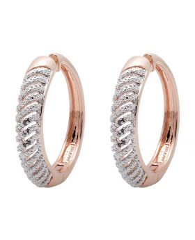 Rose Gold Finished Diamond Hoop Earrings 36mm X 7mm (0.15ct)