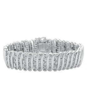 Ladies S Style White Gold Finished 7.5 inch Diamond Bracelet (2 ct)