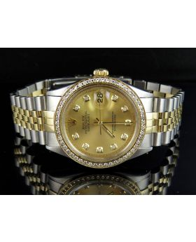 Rolex Datejust 18K Stainless Steel with Custom Dial Diamond Watch (2.0 Ct)
