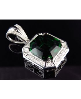 White Gold Finish Asscher Cut Royal Created Emerald Diamond Charm (0.50ct)