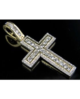 Men's 10K Yellow Gold Real Diamond Channel Cross 1.50ct