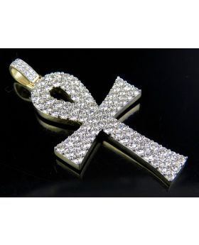 Solid 10K Yellow Gold Real Diamond Ankh Cross Pendant 3.63ct