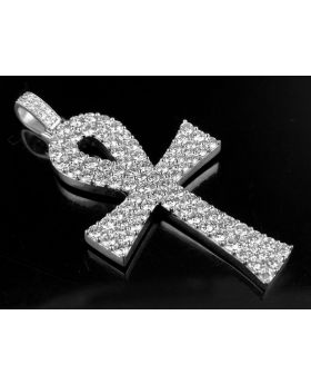 Solid 10K White Gold Real Diamond Ankh Cross Pendant 3 3/5 ct 2""
