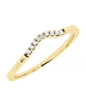 10K Yellow Gold Single Row Real Diamond Shared Prong Pave Jacket Enhancer 0.05Ct