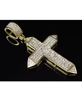 Men's Yellow Gold Pave-set Designer Diamond Pendant Charm 2 inch (0.50ct)