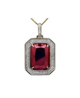 Yellow Gold Genuine Diamond Bezel Simulated Ruby Center Royal Pendant Charm (0.5ct) 1 in