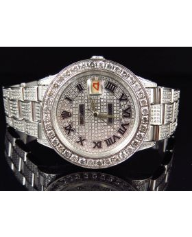 Mens Rolex Date Full Diamond Oyster Perpetual Watch (7 ct)