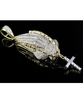 10K Yellow Gold Real Diamond Hand Rosary Pendant 0.45Ct