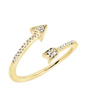 10K Yellow Gold Arrow Wrap Style Diamond Engagement Fashion Cocktail Ring 0.10Ct
