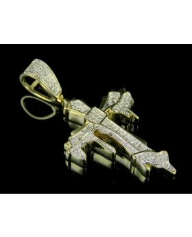 10K Yellow Gold Genuine Diamond Dripping Cross Pendant (.25ct) 1.50""