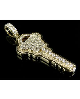 Men's 14K Yellow Gold Genuine Diamond Key Pendant 2.5ct 2.2""