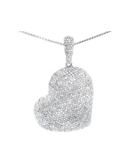 Slant Heart Pendant in White Gold (2.0 ct)