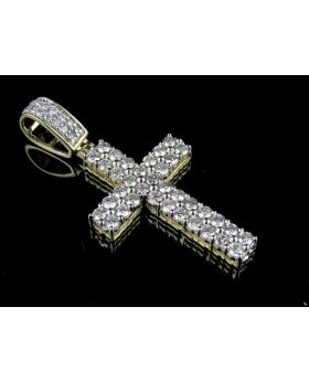 10K Yellow Gold 2 Rows Prong Cross Diamond Pendant Charm 1.50 ct